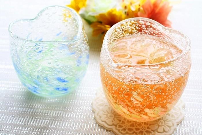 気泡の海ハートグラス/くば笠屋 沖縄国際通りお土産
